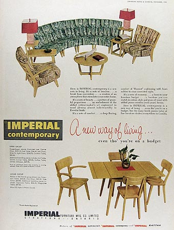 Genial Furniture Groupings, Imperial Contemporary, Stratford, Ontario, 1951