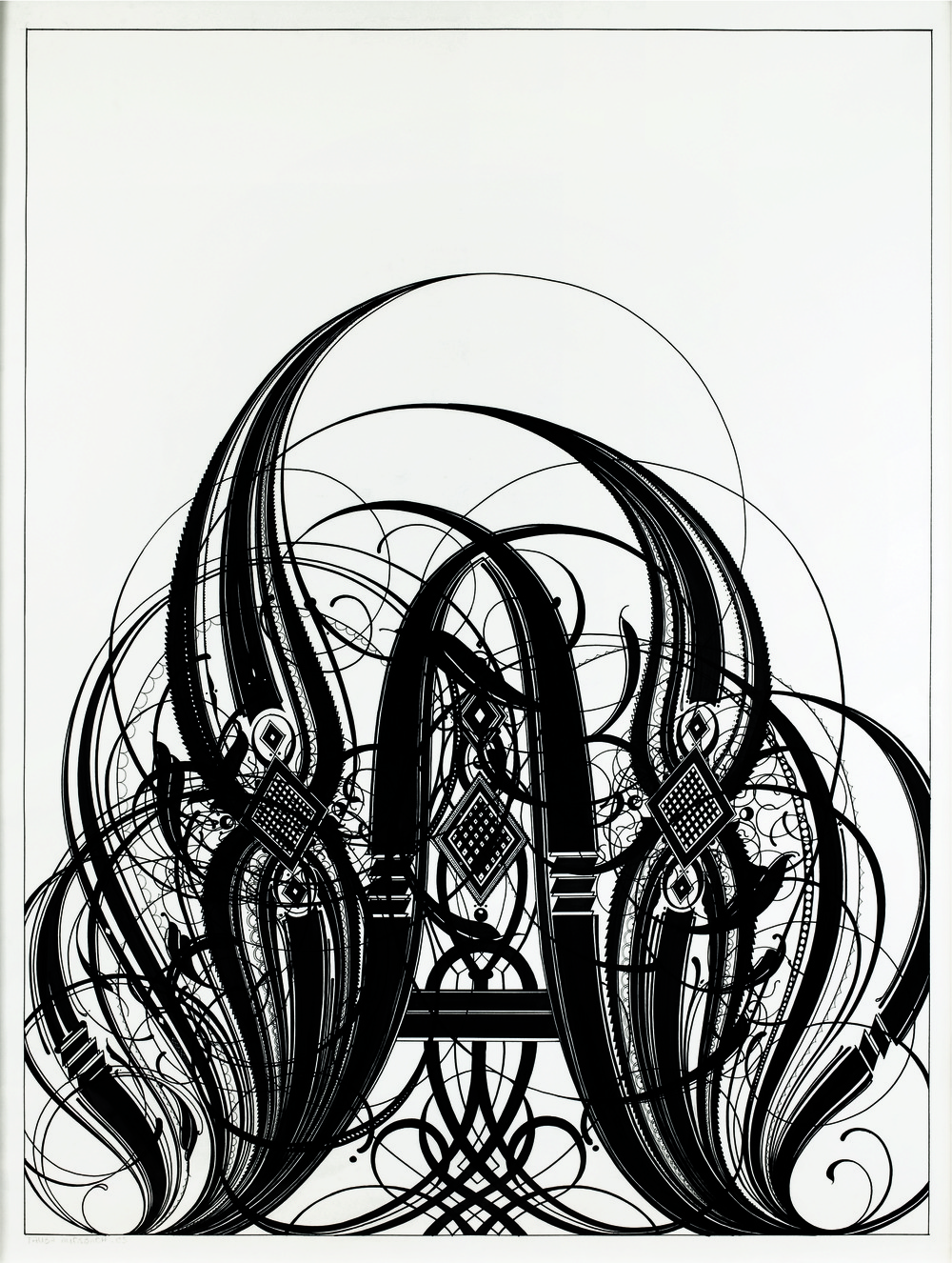 Tauba Auerbach, A, 2005 Ink on paper 50 x 38 inches  127 x 96.5 cm