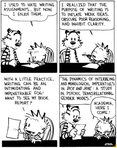Calvin and Hobbes discuss academic writing.