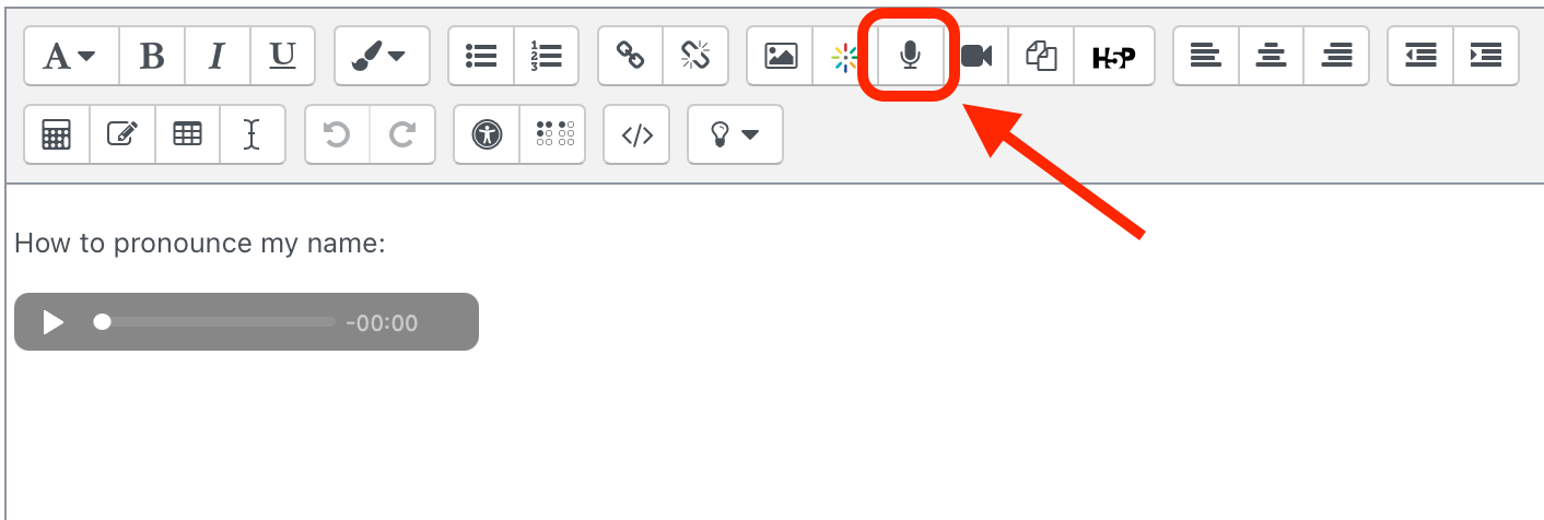 Screen shot showing where the Microphone button is in the text editor